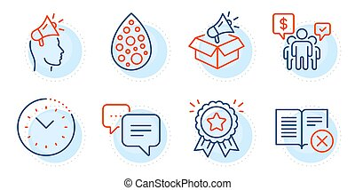 Artificial colors, Teamwork and Brand ambassador icons set. Reject book, Loyalty award and Dots message signs. Vector