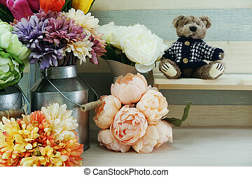 artificial daisy or gerbera flowers bouquet in metal iron flower pot home decor