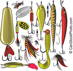 Artificial fishing lures - Vector illustration of artificial...