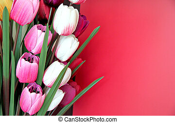 Artificial flowers. - Artificial flowers in Colorful on red...
