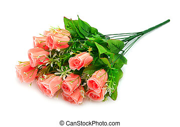 artificial flowers isolated on white background...