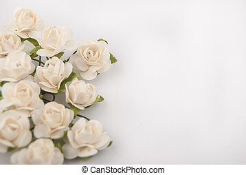 artificial flowers on white