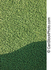 Artificial grass fake turf synthetic lawn field macro closeup