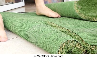 Artificial grass sheets shot clip