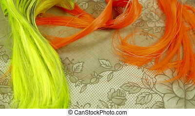 Artificial Hair Of Different Colors - Close-up shot of...