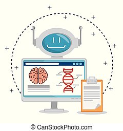 artificial inteligence technology set icons vector ...