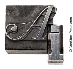 AI - artificial intelligence acronym - isolated vintage metal printing blocks