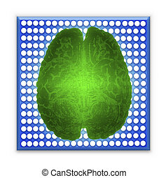 Artificial intelligence (AI) and High Tech Concept. Green glowing brain over blue microchip isolated on white background.