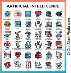 Artificial intelligence (AI) concept icons set in modern ...