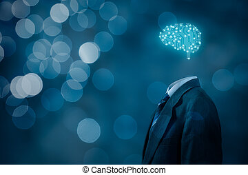 Artificial intelligence (AI), data mining, expert system software, genetic programming, machine learning, deep learning, neural networks and another modern computer technologies concepts. Brain representing artificial intelligence with printed circuit board (PCB) design.