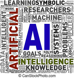 Artificial intelligence AI wordcloud