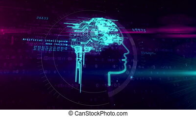 Artificial intelligence and cybernetic brain concept -...