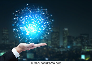 Artificial intelligence and innovation concept - Businessman...