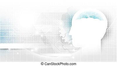 Artificial intelligence and with circuit brain on Abstract technology futuristic concept background