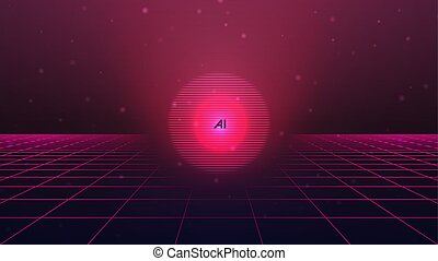 Artificial Intelligence background. Abstract futuristic pink...