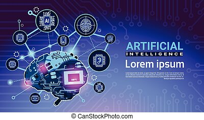 Artificial Intelligence Banner With Cyber Brain Cog Wheel And Gears Over Motherboard Background With Copy Space