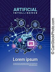Artificial Intelligence Banner With Cyber Brain Cog Wheel And Gears Over Motherboard Vertical Background With Copy Space