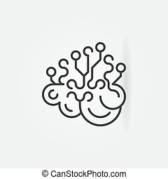 Artificial Intelligence brain concept outline icon or logo...