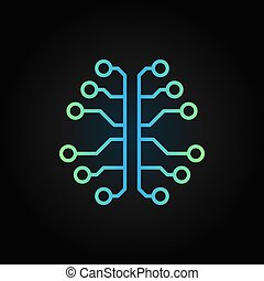 Artificial Intelligence brain creative outline vector icon