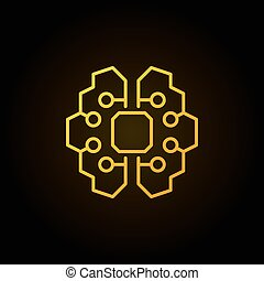 Artificial intelligence brain golden icon