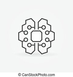 Artificial intelligence brain icon - vector AI technology sign