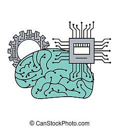 artificial intelligence brain motherboard circuit gear