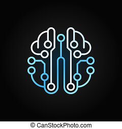Artificial Intelligence brain vector blue outline icon