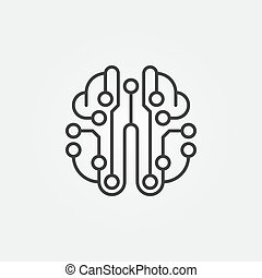 Artificial Intelligence brain vector outline icon
