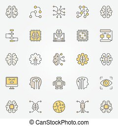 Artificial intelligence colorful icons. Vector AI symbols - ...