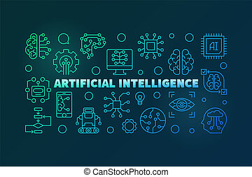 Artificial Intelligence colorful outline vector illustration...