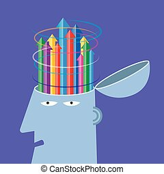 Artificial intelligence concept design, arrows in the brain.