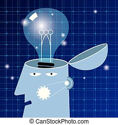 Artificial intelligence concept design, lamp in the brain