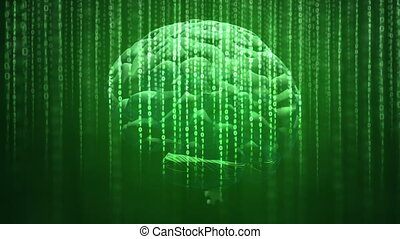 Digital brain rotating over the dark green background illustrating the concepts of artificial intelligence, digital data and computing.