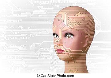 Artificial Intelligence concept - Double exposure artificial...