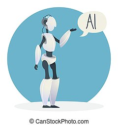 Artificial intelligence concept. Futuristic technology and robot brain