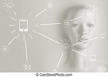 Artificial intelligence concept - Internet, network, globalization