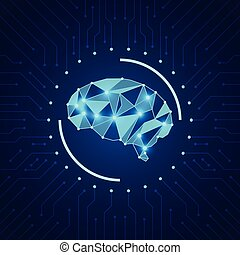 Artificial intelligence concept. Modern shiny polygonal brain at the background with microcircuit