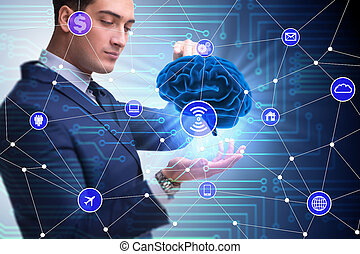 Artificial intelligence concept with brain and businessman