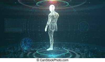 Artificial Intelligence Concept With Futuristic Human Being Scanned While Data And Nodes Are Flying Around