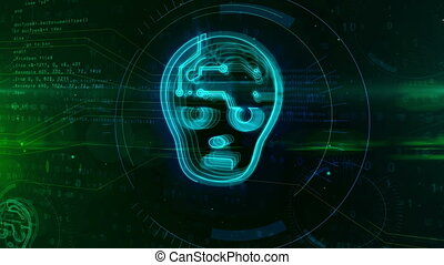 Artificial intelligence concept with humanoid face shape on...