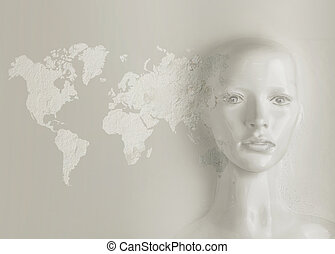 Artificial intelligence concept - world globalization