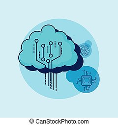 Artificial intelligence design with cloud with circuit board...