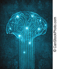 artificial intelligence digital illustration concept with brain