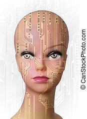 Artificial Intelligence - Double exposure of a mannequin...
