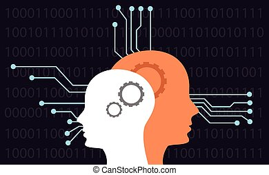 artificial intelligence head binary electricity concepts flat vector