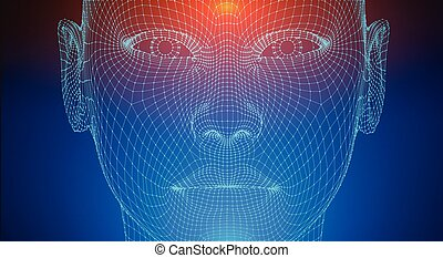 Artificial intelligence head, city human and innovations sciences fictions. Artificial technology human head concept. Cyborg background with artificial intelligence components, artificial intelligence background, brain development.