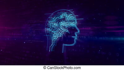 Artificial intelligence head shape on digital background. AI...