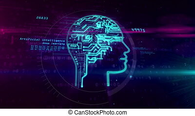 Artificial intelligence head shape on digital background -...