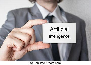 artificial, intelligence., homem negócios, mostrando, cartão negócio
