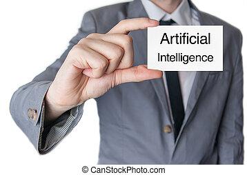 artificial, intelligence., homem negócios, segurando, cartão negócio